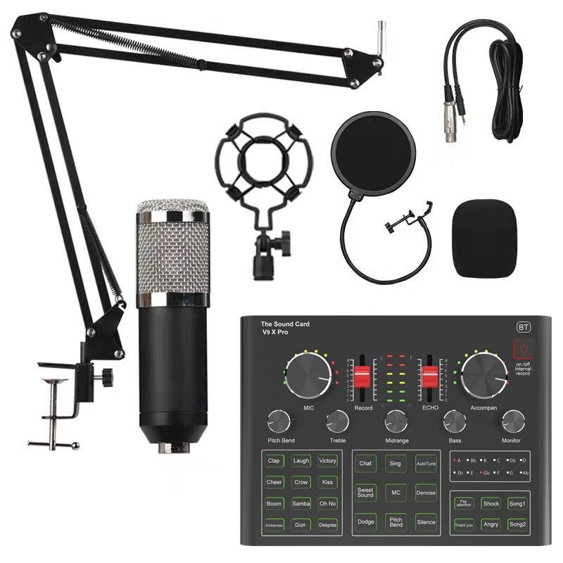 Micrófono condensador BM800, tarjeta de sonido V9X PRO, mezclador, transmisión en vivo, grabación, teléfono K, canciones, ordenador, Karaoke