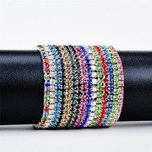 1pc Hot Silver Bracelet Rhinestone Women Colorful Shine Crystal Bridal 1Row Bangle Delicate Wedding Simple Jwelry Gift все цены
