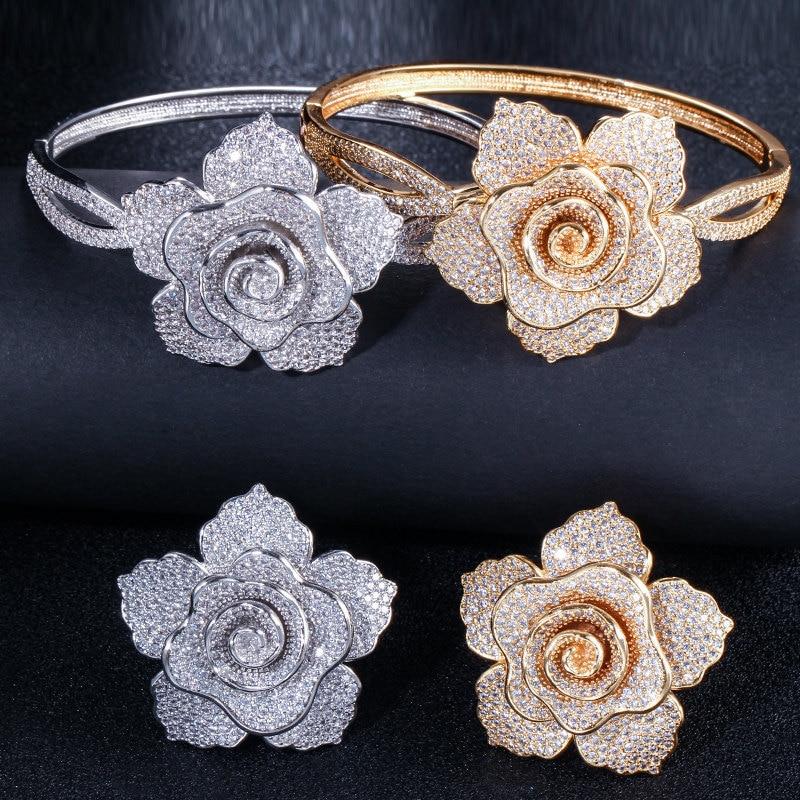 Image 3 - Pulsera y anillo de lujo de moda europea y americana traje de  joyería con incrustaciones brillantes en forma de flor para parejas  Paquete de regaloConjuntos de joyería