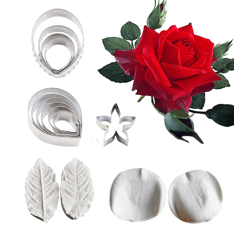 5 Styles Rose&Leaf Veiner Silicone Mold Flower Cake Decorating Tools Chocolate Gumpaste Mold Chocolate,Sugarcraft Cutters CS409