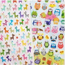 30packs/lot NEW Cute Owl And Giraffe Two Design Animal Color Sticker Scrapbooking Stationery School Supplies