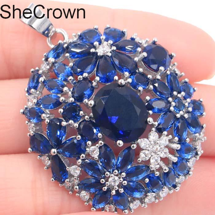 Fantastic Long Tanzanite CZ Woman 39 s Gift Silver pendant 46x34mm in Pendants from Jewelry amp Accessories