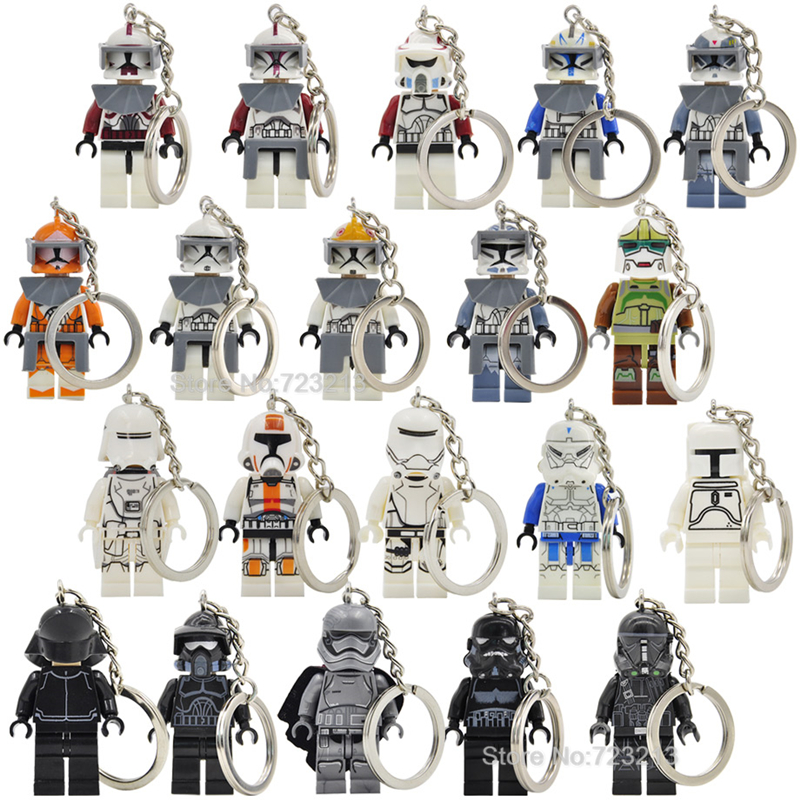 R2-D2 Figure Starwars Keychain New Wolfpack Clone Trooper Fox Captain Rex Shadow ARF Building Blocks Models Toys Legoing