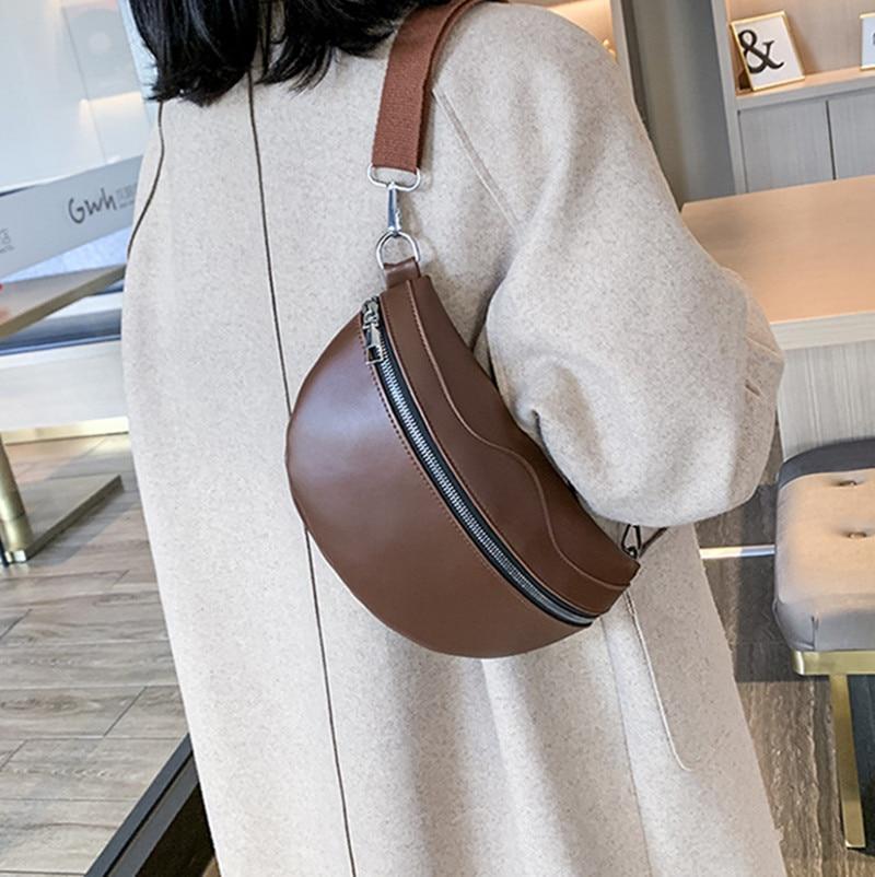 Fashion Wild Women's Waist Bag Half Moon PU Leather Chain Fanny Pack Bananka Bag On A Belt Satchel Women Belly Band Belt Bag