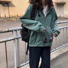3 colores 2019 abrigos con capucha de otoño con bordado de letras para mujer chaqueta con cremallera cálida ropa Casual tapas abrigo femenino para mujer (F3873)