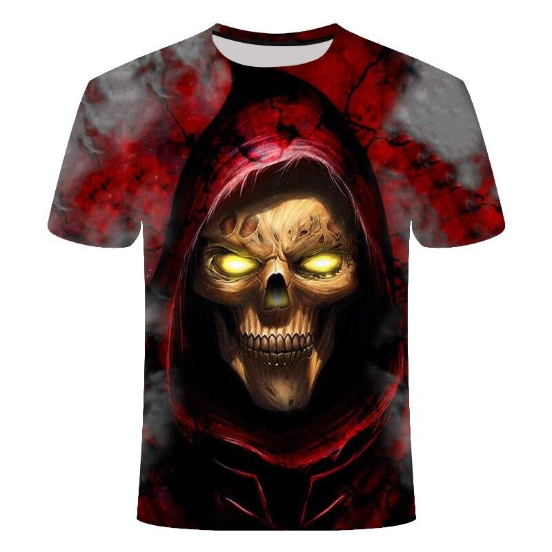 new casual3d skull tshirt hat skull T shirt street fashion trend youth hip hop t-shirtskull t shirtSize 6 xl