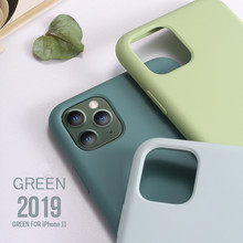 Funda blanda para iPhone 7 8 6 6S Plus 5 5S 4 4S funda Original de silicona líquida Color caramelo para iPhone X XS 11 Pro Max XR verde 2019(China)