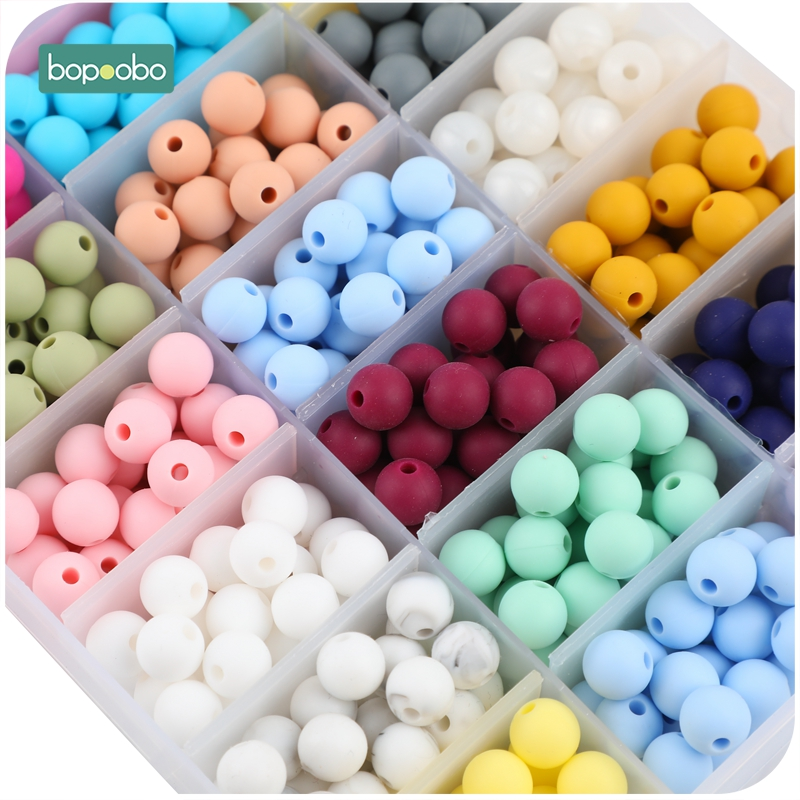 200pc 9mm Silicone Beads Pearl Food Grade Teething Beads Silicone DIY  Tiny Rod Baby Teether Baby Crib Mobile Toys Baby Product