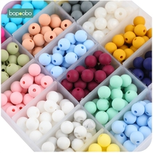 200pc 9mm Silicone Beads Pearl Food Grade Teething Beads Silicone DIY Tiny Rod Baby