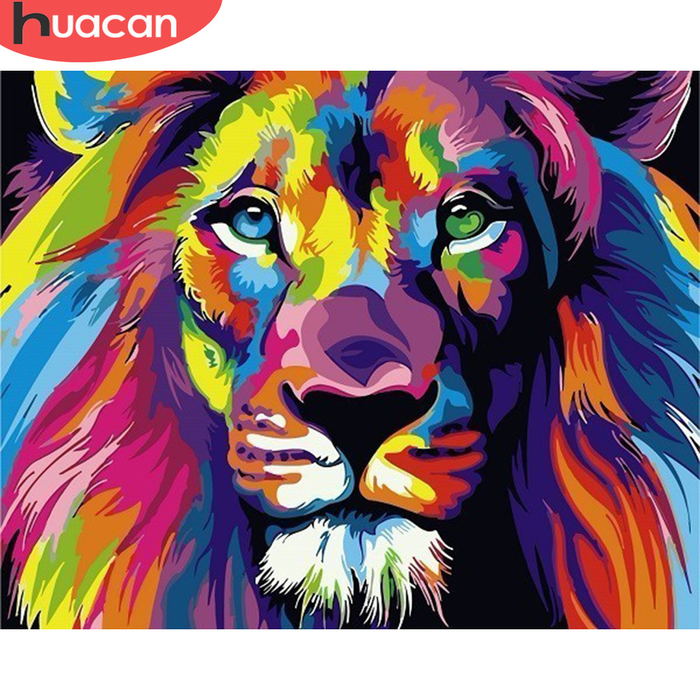 HUACAN Painting By Numbers Lion Animals Drawing Canvas DIY Pictures By Numbers Kits Wall Art Hand Painted Gift Home Decor