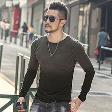New Autumn Mens T shirt Sweater O Neck Slim Fit Knittwear Mens Cotton Long Sleeve Pullovers Sweater J816 2