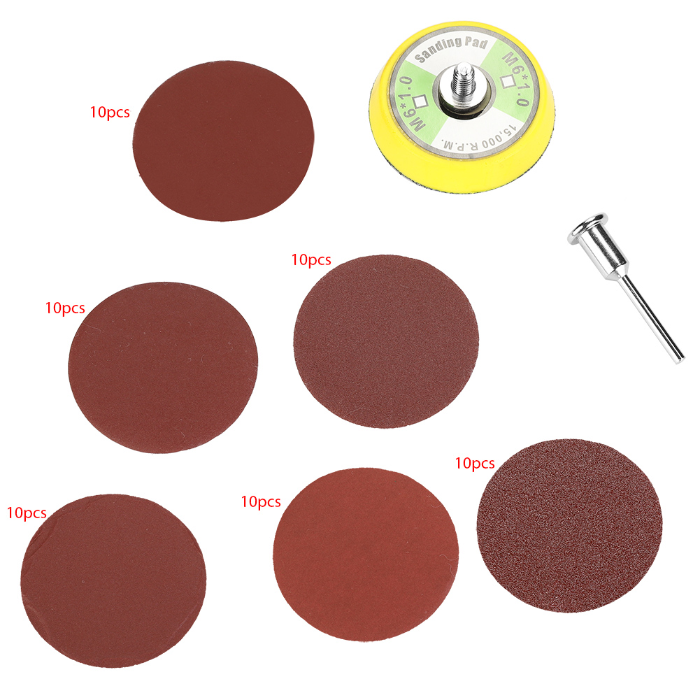 60PCS 2-Inch Round Shape Red Sanding Discs <font><b>100</b></font> 240 <font><b>600</b></font> 800 1000 2000# Grit Sand Papers Sandpaper 8 Hole Sander Polishing Pad image