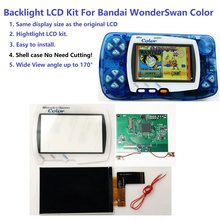 Wsc hightlight ips tela lcd kit luz de fundo brilho para bandai wonderswan cor para maravilha cisne cor jogo console