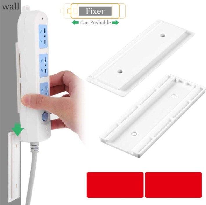 Seamless Punch Free Plug Sticker Holder Wall Fixer Power Strip Holders Storage Sockets Wall Holders Shelf Stand Holder Plug Hook