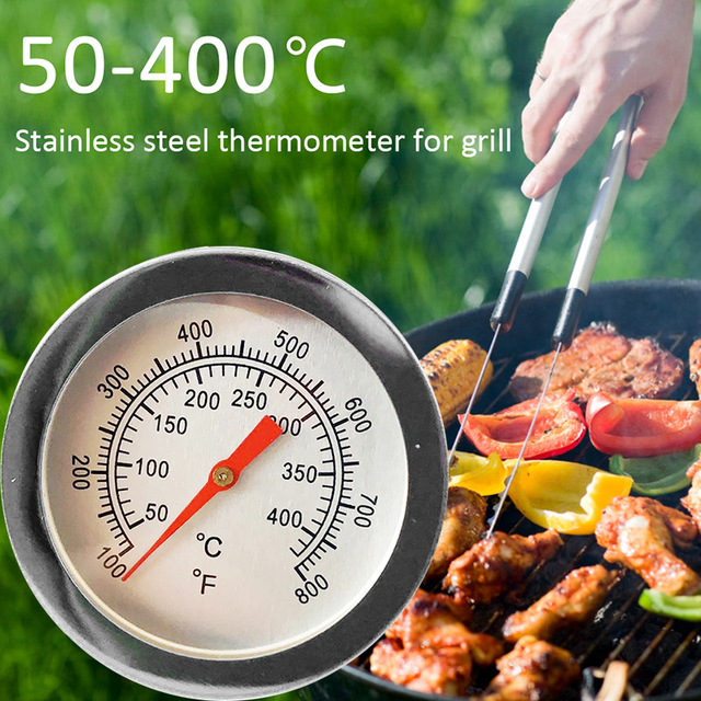 50℃~400℃ Stainless Steel Barbecue BBQ Smoker Grill Thermometer Temperature Gauge Household Merchandises Thermometers