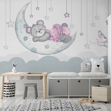 Mural Wall-Paper Photo-Wall Bedroom Custom Girl Cartoon Moon Kindergarten Bear Background