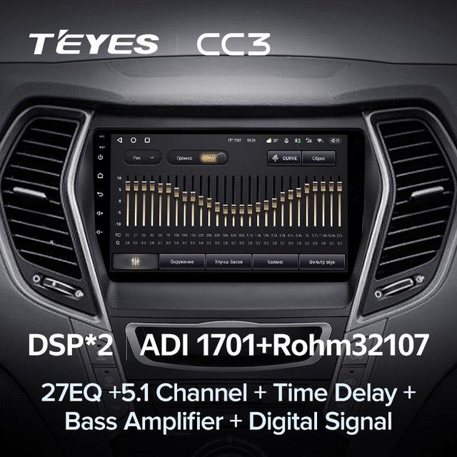 TEYES CC3 Штатная магнитола For Хендай Санта Фе 3 For Hyundai Santa Fe 3 2013 - 2016 до 8-ЯДЕР, до 6 + 128ГБ 27EQ + DSP carplay автомагнитола 2 DIN DVD GPS android 10 мультимедиа автомобиля головное устройство 4