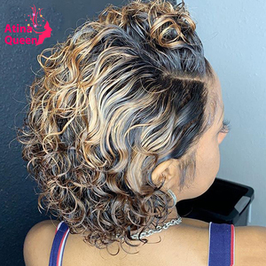 Bob Short Deep Curly Lace Front Wig Colored Ombre Pixie Cut Wig Human Hair Wigs Preplucked Bleached Knots Remy Honey Blonde Wig