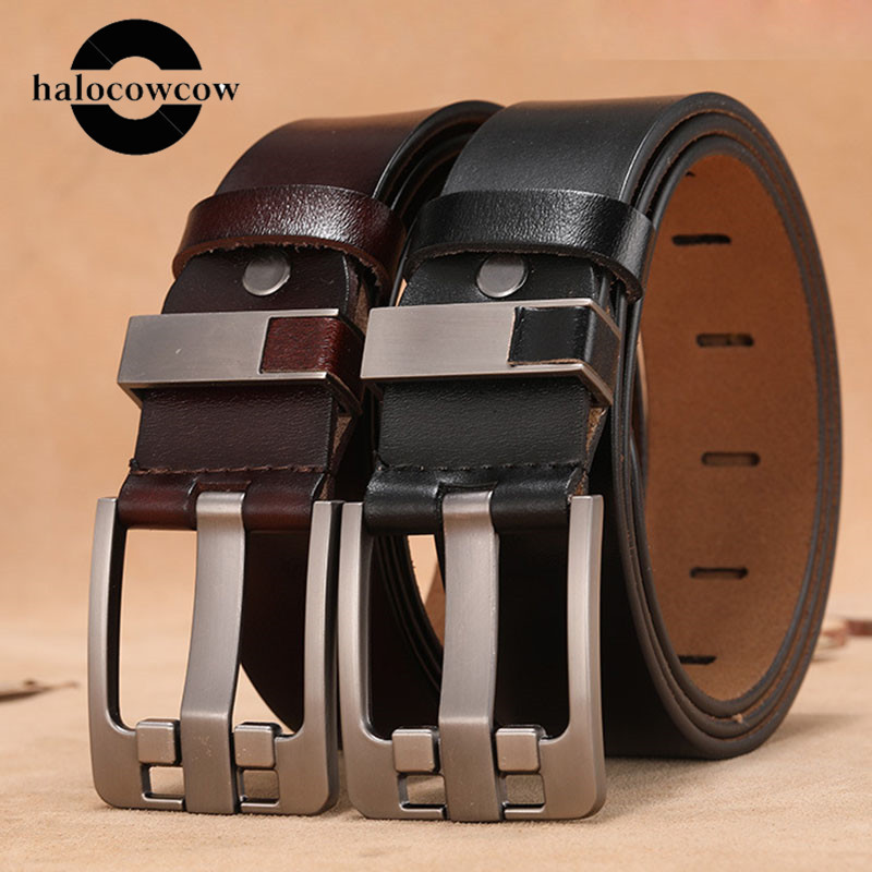 Cow Genuine Leather Luxury Strap Male Belts For Men New Large Plus Size 140 150 160cm Vintage Pin Buckle Men Belt High Quality