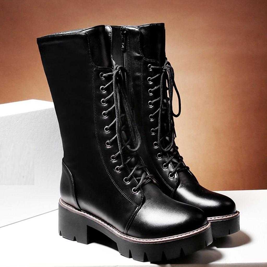 Rock punk-zapatos de punta redonda con cremallera para mujer, botas cálidas de charol, zapatos de tacón cuadrado, botines informales largos con cordones # G4