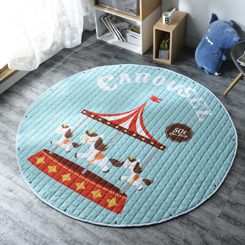 H87028ed57b1947b193d23485f0c43c21G Kid Soft Carpet Rugs Cartoon Animals Fox Baby Play Mats Child Crawling Blanket Carpet Toys Storage Bag Kids Room Decoration