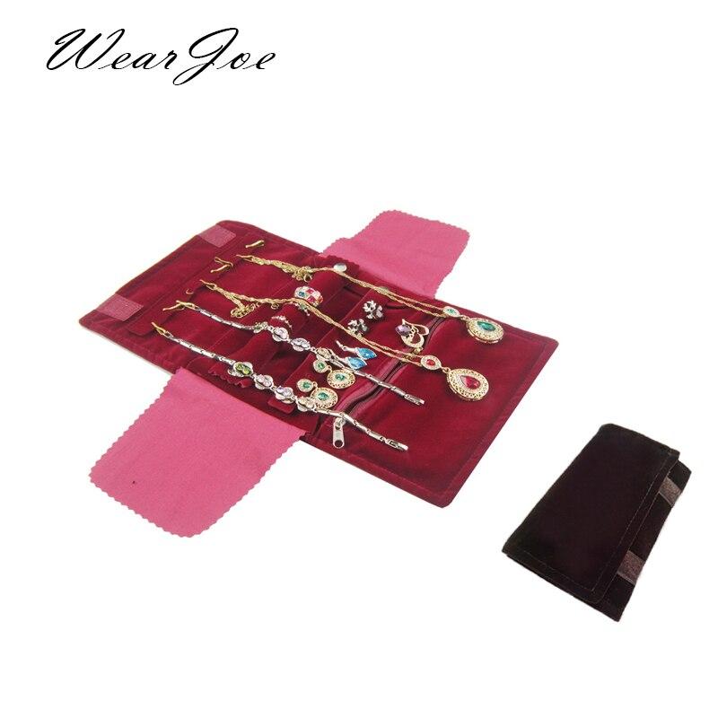 Elegante borgonha ou veludo preto pequeno organizador de jóias rolo saco de viagem com zíper caso para vários colar anel brincos armazenamento
