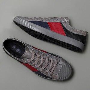 Image 3 - 2020 Nieuwe Herfst Mannen Casual Gevulkaniseerd Schoenen Britse Mode Mannen Pu Lederen Schoenen Ademend Sneakers Mannen Designer Flats