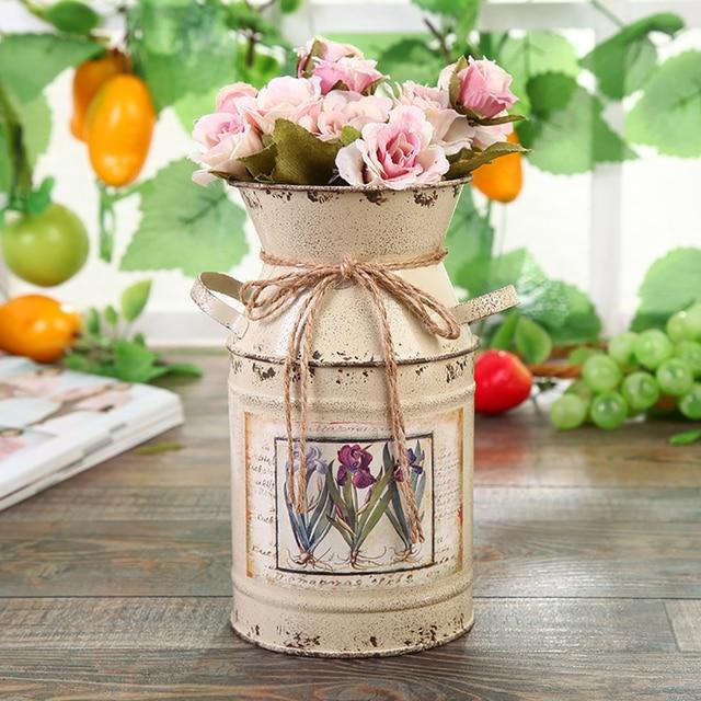Garden Plants Flower Vase Iron Bucket Home Decoration Pots Arrangement Craft Rural Style Shabby Gift Wedding Vintage Table 6