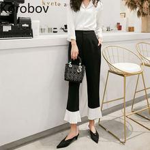 Korobov 2020 cintura alta casual ol calças femininas coreano chique flare calças do vintage preto branco retalhos feminino corredores