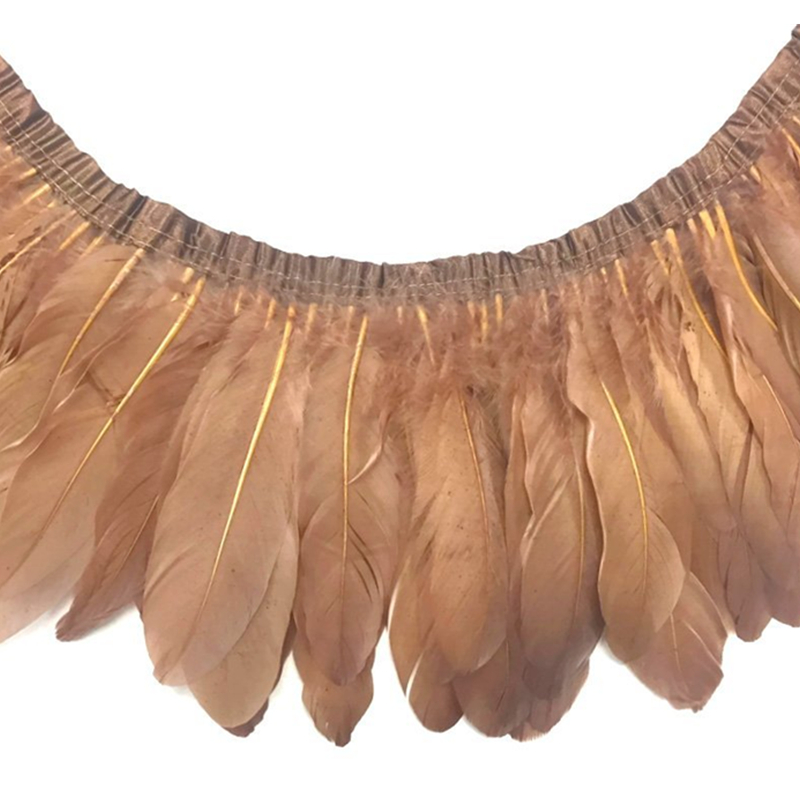 Wholesale 2 Meter/Lot Dyed Khaki Goose Feather Trims Real Geese Feather Fringes Ribbons Dress Belt decorative Clothing