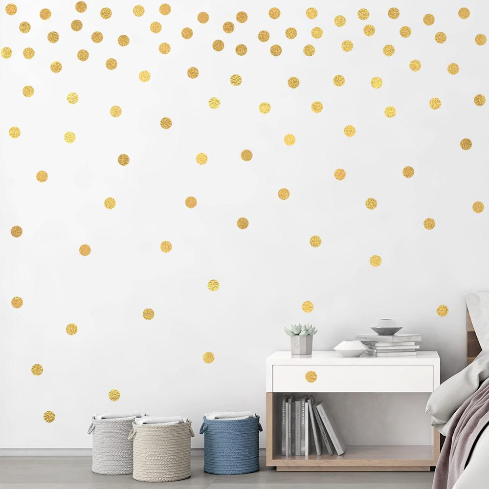 creative 20 30cm gold circle wall stickers for kids room baby nursery home decorations vinyl wall decals diy wallpaper art in Wall Stickers from Home Garden