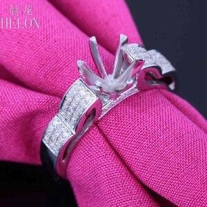 Image 5 - HELON 6mm redondo Plata de Ley 925 oro blanco Color 0,3ct diamantes naturales Semi montaje Anillo Compromiso clásico anillo de joyería fina