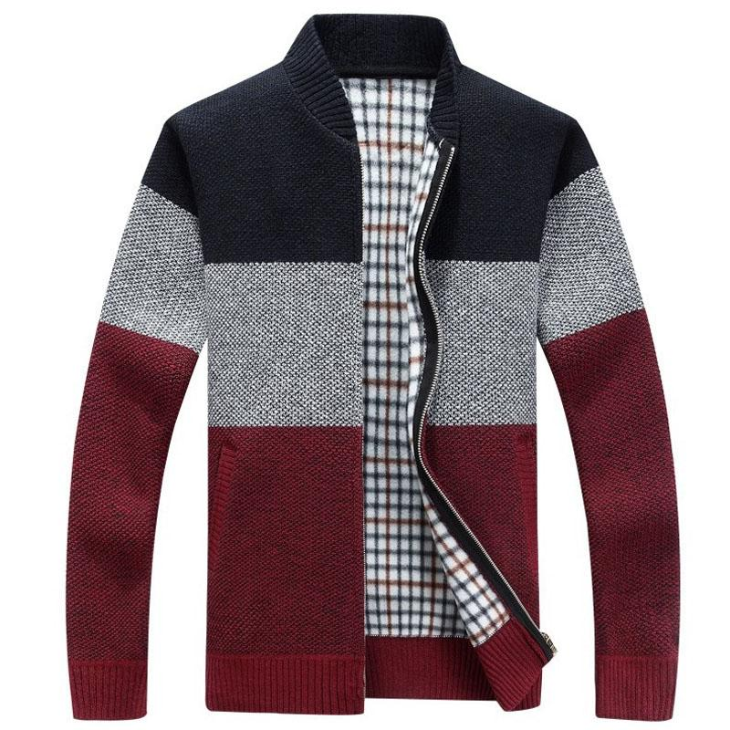 Autumn Winter Patchwork Sweaters Men Casual Thick Warm Cardigan Cashmere Coats Autumn Sweatercoat Jackets Knitted Zipper Coat