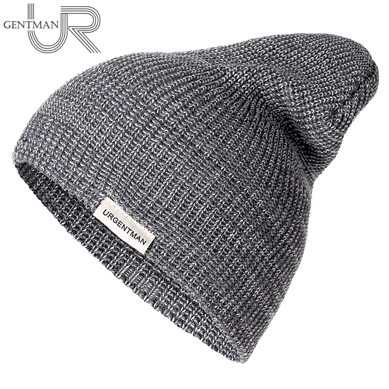 1 Pcs Unisex Hat URGENTMAN Casual Beanie For Men & Women Warm Soft Knitted Winter Hat Fashion Plain Daily Beanie Hat Crochet Cap