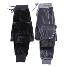 2020 new plus velvet thick velvet sweatpants women winter warm BF wind harem