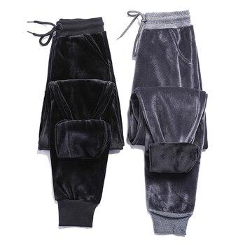 цена 2020 new plus velvet thick velvet sweatpants women winter warm BF wind harem pants casual pants Wei pants trousers онлайн в 2017 году