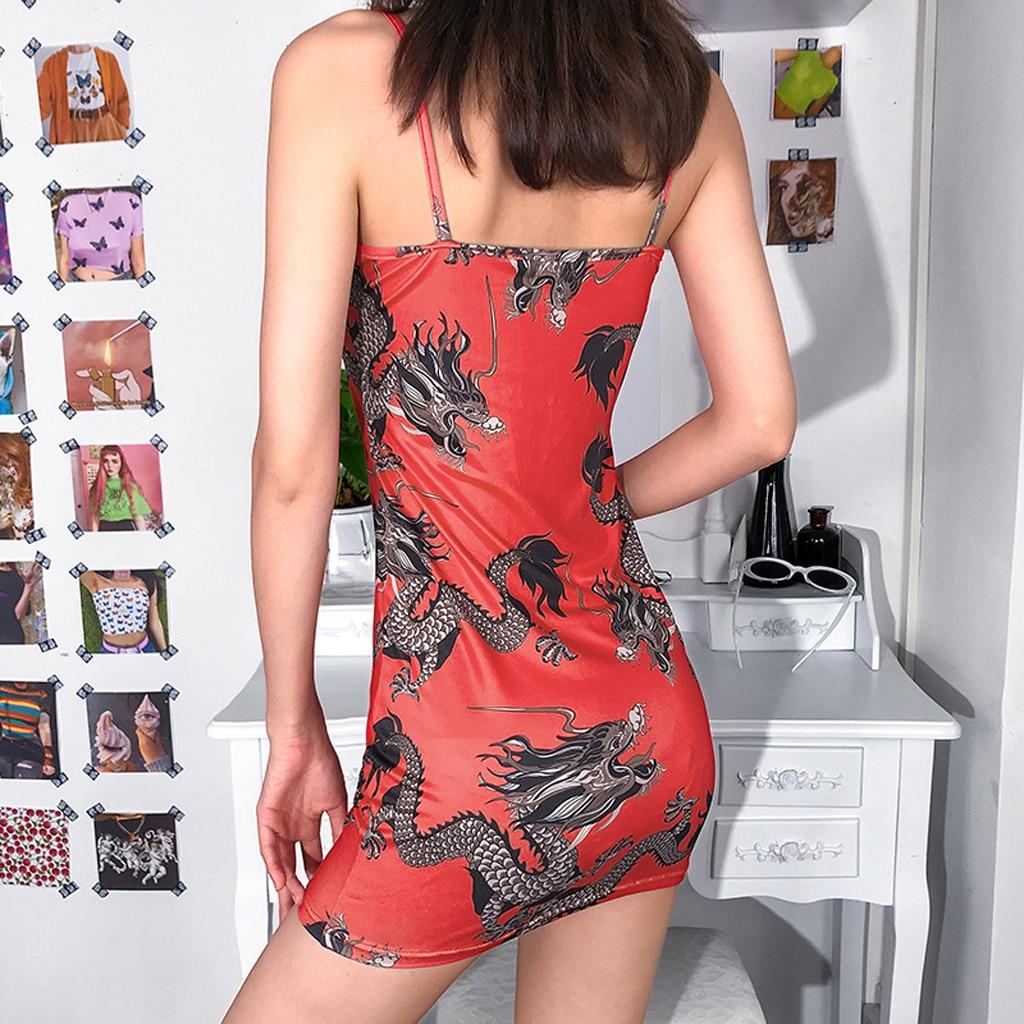 Harajuku Summer women's girls dress Fashion Women Sexy Off Shoulder Dragon Print Strap Casual Night-club Mini party Dress 2019