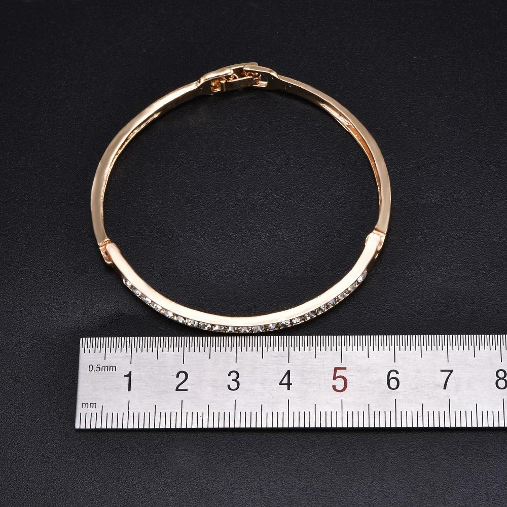 Fashion Gold Stainless Steel White Rhinestone Crystal Bracelet Women Wedding Party Cuff Bangle Bracelet Jewelry 2