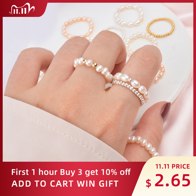 ASHIQI Fashion 3 4mm Mini Small Natural Freshwater Pearl Couple Rings for Women Real 925 Sterling Silver Jewelry for Women Gift