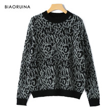 Biaoruina 3 Warna Wanita Fashion Leopard Tipis Merajut Sweater O-neck Gaya Korea Kasual ALL-Match Pullover Satu Ukuran(China)