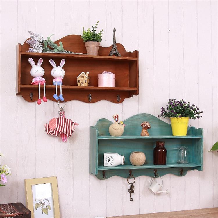 American Vintage Decorative Wall Hangings Storage Shelf Creative Clothing Store Coat Hook Entrance Doorway Key Storage Rack Hook