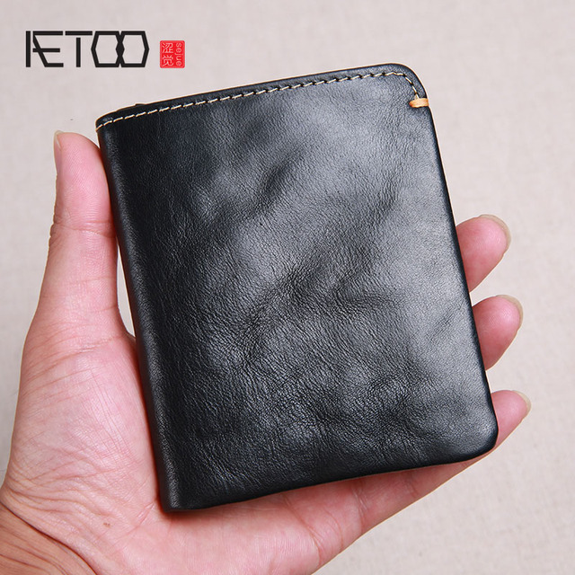 AETOO Wallet mens short leather super thin youth first layer cowhide handmade simple soft leather wallet vertical mini wallet