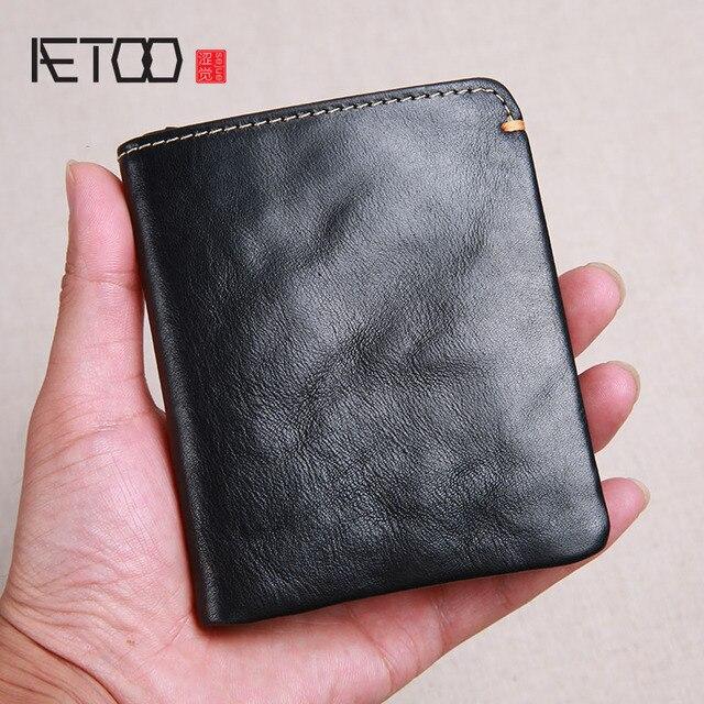 AETOO cartera corta de piel de vaca de primera capa para hombre, billetera juvenil de piel de vaca, hecha a mano, sencilla y suave, mini billetera vertical