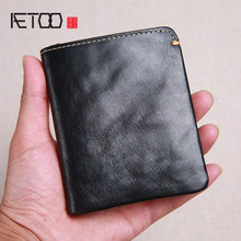 AETOO Wallet men's short leather super thin youth first laye