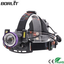 BORUiT XQ-167 XML T6 COB LED Headlamp 4 Modes Zoomable Headlight USB Charger Flashlight Use 18650 Fishing Camping Head Torch yunmai usb 20000lm 5 new xml t6 2xpe headlamp head lamp lighting light flashlight torch lantern fishing 18650 battery charger