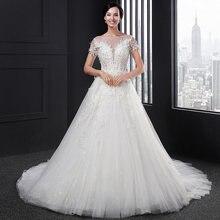 Vestido de novia con cuentas y espalda descubierta para SL-002, Túnica de tul con Espalda descubierta, estilo bohemio simple, color blanco, princesa ever pretty, 2020