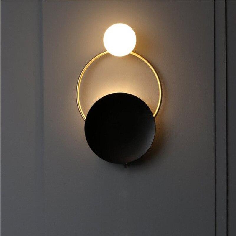Nordic creative wall lamp hardware living room decoration art bedside bedroom hotel villa model room wall lamp light fixtures