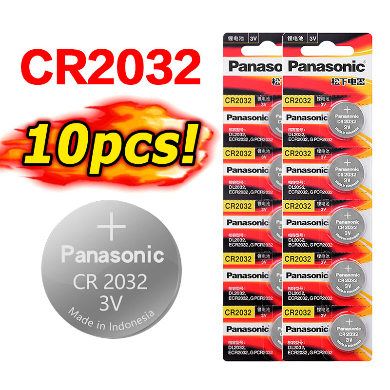 10 pieces brand new battery for <font><b>PANASONIC</b></font> cr2032 3v button cell batteries for watch computer cr <font><b>2032</b></font> for toys watches image