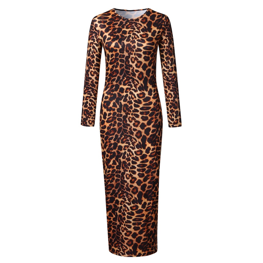 Leopard Print Bodycon Dress Round Neck Long Sleeve Fit Slim Sexy Dress Spring Autumn Lady High