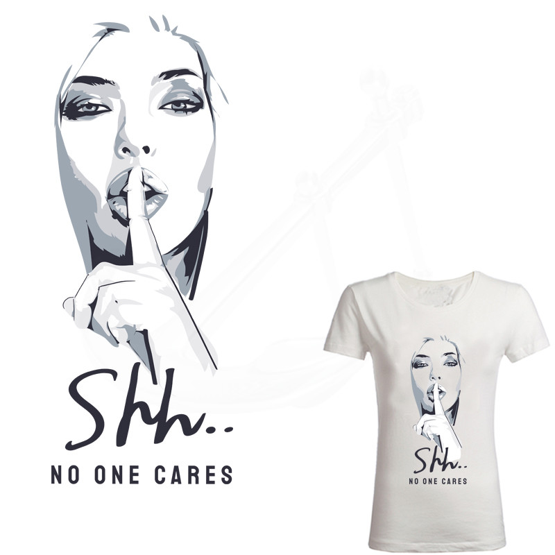 """Europe Style """"Shh··· NO ONE CARES"""" Heat-sensitive Patches DIY Girls Thermo Stickers On Clothes Iron On Transfers For Clothing"""